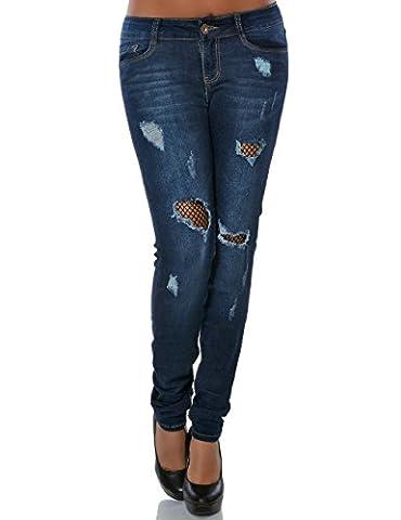 Damen Jeans Hose Skinny Ripped Jeanshose Destroyed No 15746, Farbe:Blau,
