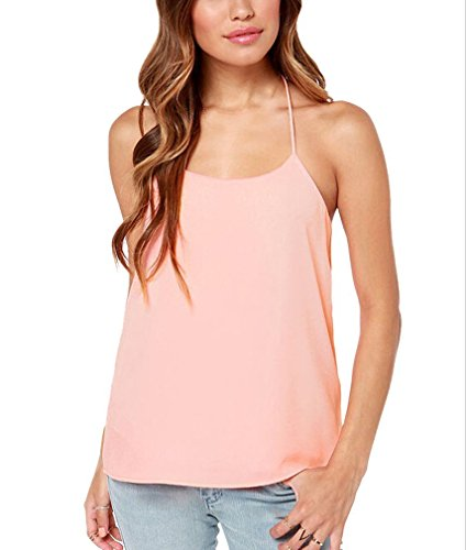 Minetom Damen Basic Top Plus Size Neckholder Ärmellos Lang Swing Tank Top Bluse Shirt Pink