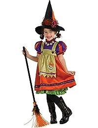 Traumhaftes Hexenkostüm inkl. Hut ~ Kostüm ~ Hexe ~ Mädchen ~ Halloween Gr. 128 - 140 = Größe Large