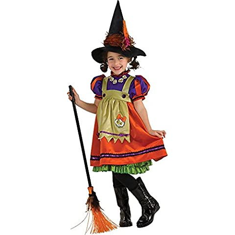 Costume da strega, con cappello ~ sogno ~ Strega ~ ~ ragazza Halloween Costume taglia 128–140, taglia Large