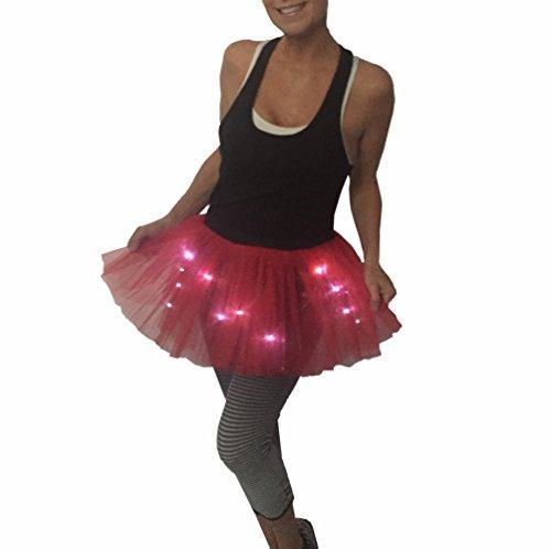 Glitter Girl Damen Lauf-Tutu mit LED-Beleuchtung, leuchtet Nacht, 5K, Einheitsgröße, Damen, rot