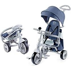 Kinderkraft Tricycle Enfant Évolutif JAZZ, 4 en 1, Vélo, Accessoires, Bleu