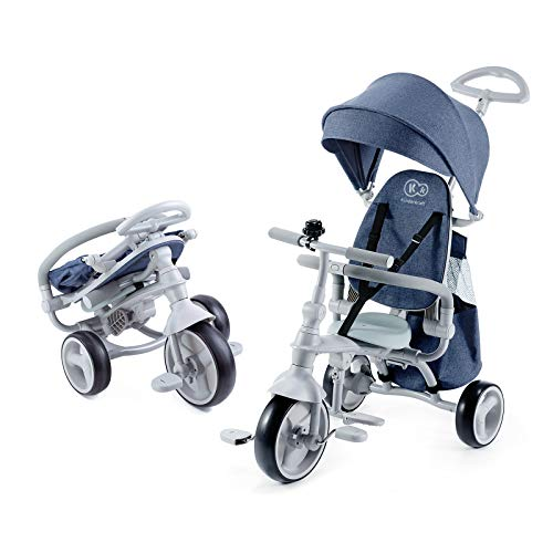 Kinderkraft Dreirad 4 in 1 JAZZ, Kinderdreirad, Kinder Fahrrad, Jogger, Klappbar mit Zubehör, Tasche, Klingel, Lenkbarer, Freilauf, Sonnendach, Lenker ab 9 Monate bis 5 Jahre, Blau
