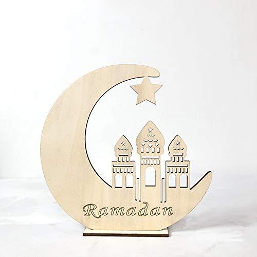BeesClover Muslim Eid Mubarak - Figura Decorativa de Madera con Forma de Luna Hueca, Mosque