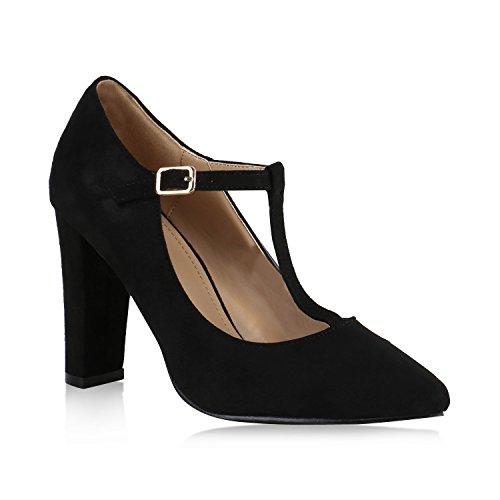 Damen Schuhe Spitze Pumps Klassisch T-Strap Blockabsatz High Heels 147881 Schwarz Arriate 36 Flandell