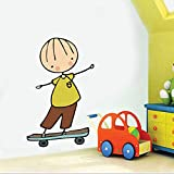 Cartoon niedlichen Wandaufkleber spielen Skateboard Schaukel für Kinder Baby Zimmer Schlafzimmer Home Decoration Decals Tapete