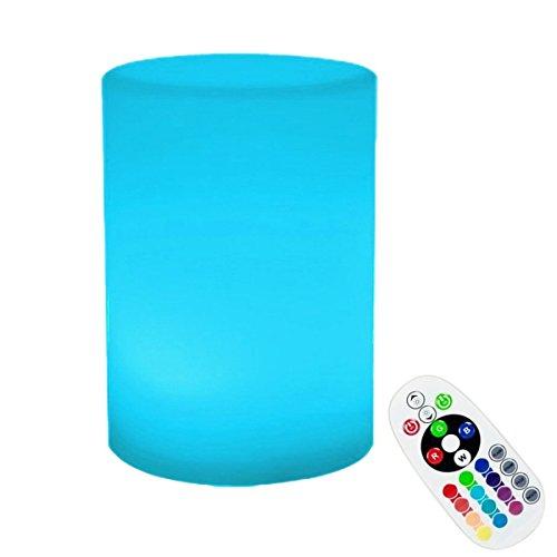 Nachladbare LED Nachttischlampe,SUAVER Dimmbar 16 Farbwechsel Stimmungslicht,Kinder Schreibtisch Lampen Bedside Lamp Bed Lights mit Fernsteuerungs,Anzüge für Outdoor Innendekoration (Zylinder-10x15cm) -