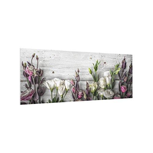 Bilderwelten Spritzschutz Glas - Tulpen-Rose Shabby Holzoptik - Panorama Quer, 50cm x 125cm