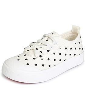 Kentti Zapatillas de Moda de Lona Polka Dot Sin Cordones Para Niñas