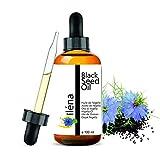 Aceite vegetal de Nigella sativa (comino negro) Aceite de Nigella, 100% orgánico, puro y natural: cuidado del cabello, cuero cabelludo, hidratante, piel, frasco de vidrio con una pipeta de 100 ml