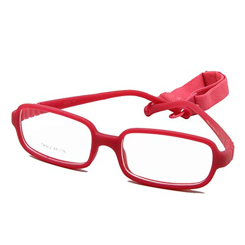 EnzoDate Kinder Brillengestell mit Gurtgröße 48, einteilige Kinderbrille mit Kordel, ohne Schraube, flexibel Mädchen Jungen Brille (rosa)