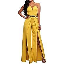 Mujer Pierna Ancha Jumpsuit Bandeau Color Sólido Playsuit Aberturas Mono Amarillo S