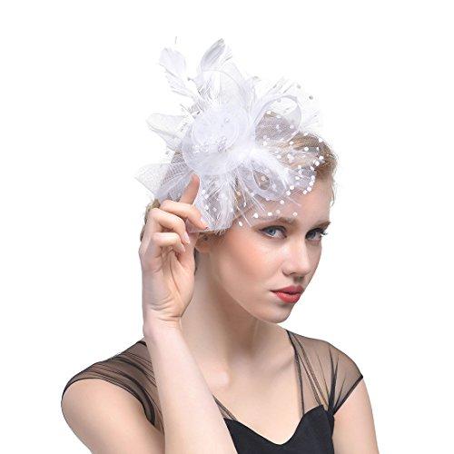 Fascinator Hut Feder Mesh Netz Schleier Party Hut Ascot Hüte Blume Derby Hut mit Clip und Stirnband für Frauen (C1-weiß)