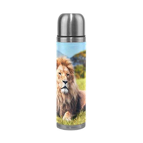 COOSUN Big Liegen Löwe Savannah Gras Edelstahl Flaschen Wasserflasche Vakuum-Thermobecher Leak Proof Doppelvakuumflasche, PU-Leder-Reise-Thermal-Becher, 17 Unzen 17 Unzen Mehrfarben