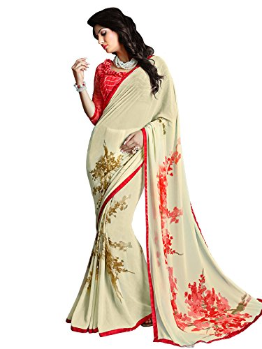 Kanchnar Women's Cream Printed Georgette Casual Wear Saree With Printed Unstitched Blouse Fabric,Indian Traditional Wear Dress,Gift to Wife,Mom,Sister,Friend  available at amazon for Rs.929