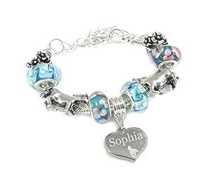 Charm fer à cheval-Cheval &Girl's Bracelet Style Pandora-Coffret cadeau