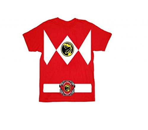 Power Rangers Rot Erwachsene Ranger Kostüm Rot T-Shirt Tee (XX-Large) (Mighty Morphin Power Rangers Kostüm T Shirt)