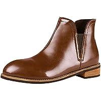 Mujer Botas planos bajos casual,Sonnena ❤️ Zapatos de punta redonda para mujer Cuero de color puro Booties Zapatos de tacón cuadrado Martin Boots