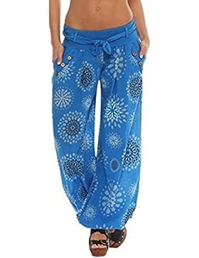 Pantalón Mujer By BaZhai Pantalones largos de mujer suelta con estampado de las señoras pantalones hareem de bolsillo...