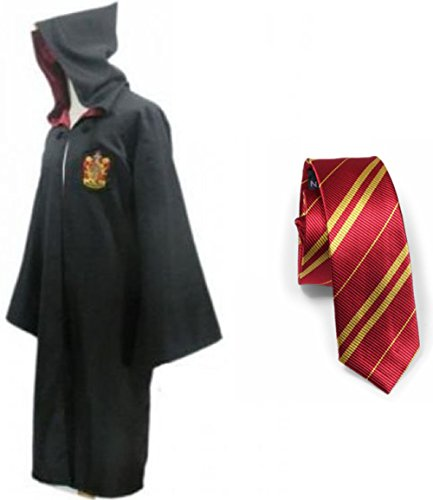Harry Potter Gryffindor School Fancy Robe Cloak Costume And Tie (Size L) (Potter Harry Robe)