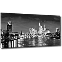 Bild auf Leinwand Skyline Frankfurt Größe: 60cm x 110cm | Kunst Bild Frankfurt Nacht Skyline Schwarzweiß | Die Frankfurter Skyline bei Nacht | Farbe: schwarzweiss | Rubrik: frankfurt + Städte