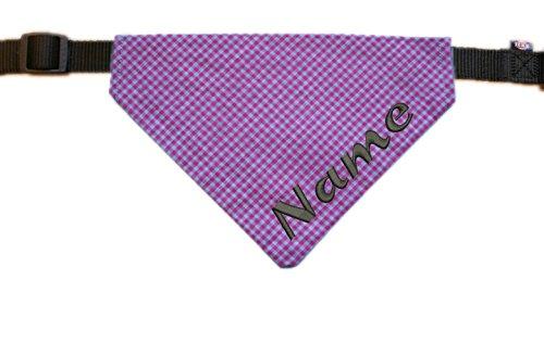 Halstuch mit Name bestickt für Hunde - Farbe grau-rosa kariert - inkl. Halsband - Größe L - XL