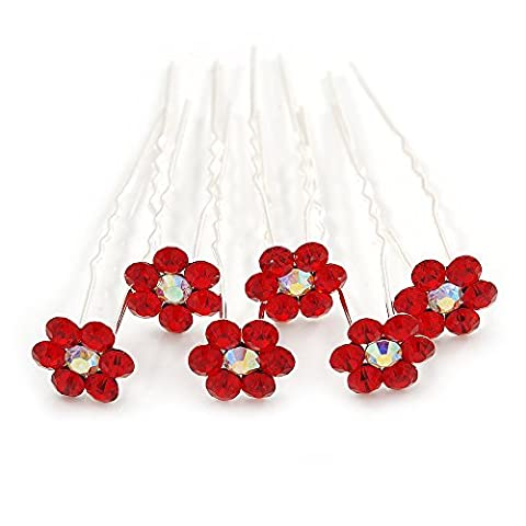 Bridal/ Wedding/ Prom/ Party Set Of 6 Red Austrian Crystal Daisy Flower Hair Pins In Silver Tone by Avalaya