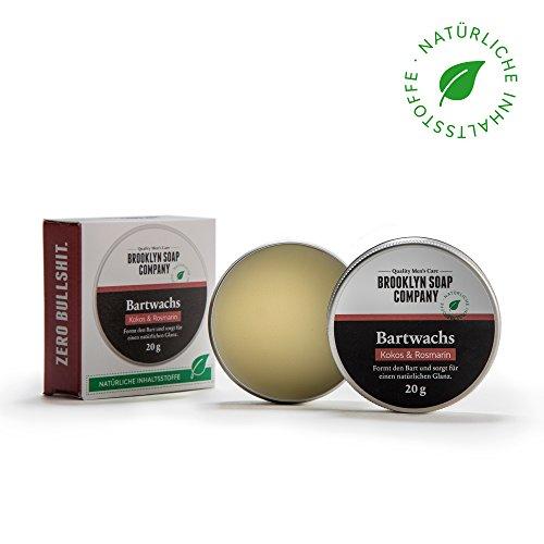 Natürliche Bartpflege: Beard Wax Bartwachs (20 gr) ✔ Naturkosmetik der BROOKLYN SOAP COMPANY für Bartstyling von 3-Tage-Bart bis Vollbart – starker Halt, leichter Glanz - Beard Balm als Geschenkidee