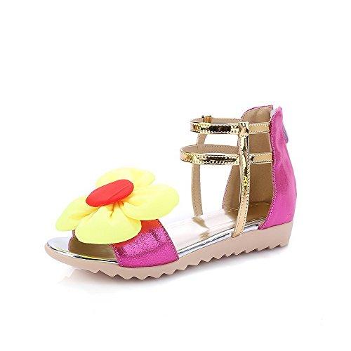 AllhqFashion Damen Offener Zehe Niedriger Absatz Weiches Material Gemischte Farbe Sandalen Rosa s9WoH