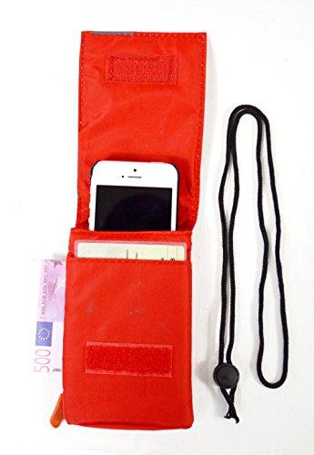 Universal 3 in 1 Brustbeutel in 5 Farben mit RV Fach und 2 Steckfächer sowie Karabiner zum befestigen (rot) (Rv-brustbeutel)