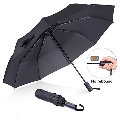 Ombrello pieghevole antivento rinforzato, 10 coste, diametro 105 cm, accensione/spegnimento automatici, adatto per uomini e donne - Reyleo WU02A