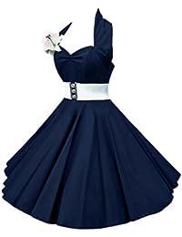 VKStar®Enfants Robe Années 50 Vintage Style Halter Sans Manche 1950s Audrey Hepburn Robe Fille Rockabilly Swing
