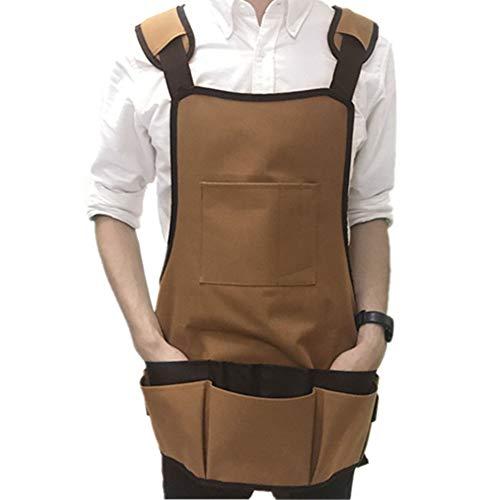 Hacken Kostüm - Maruis Multifunktions-Schürze, aus Segeltuch, mehrere Taschen, für Gartenschürzen, Werkzeug für Kostüme, kleine Werkzeuge, tragbare Aufbewahrung - Handschuhe, Schaufel, Harke, Hacke, Schere