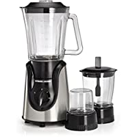 Black+Decker 600W Glass Blender with Grinder, Mincer and Chopper, Black/Silver - BX600G-B5
