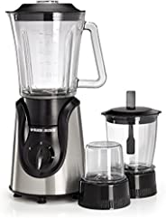 Black+Decker Glass Blender 600W, BX600G-B5, Black/Silver, 2 Year Brand Warranty