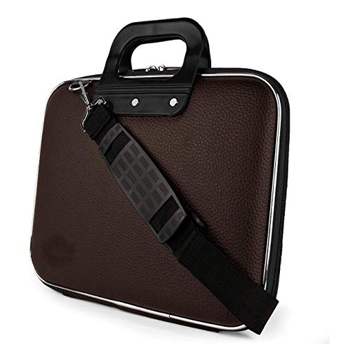 VIHAANTM Laptop Messenger Handbag Durable Briefcase Carrying Case for 15.6 in Laptops & Notebooks with Shoulder Strap Unisex Hard Shell Durable PU Leather Briefcase Laptop Bag (Brown)