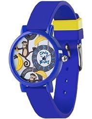 Tikkers Kinder Quarz-Uhr mit Zifferblatt Analog-Anzeige- und Blau Silikon Riemen TK0077