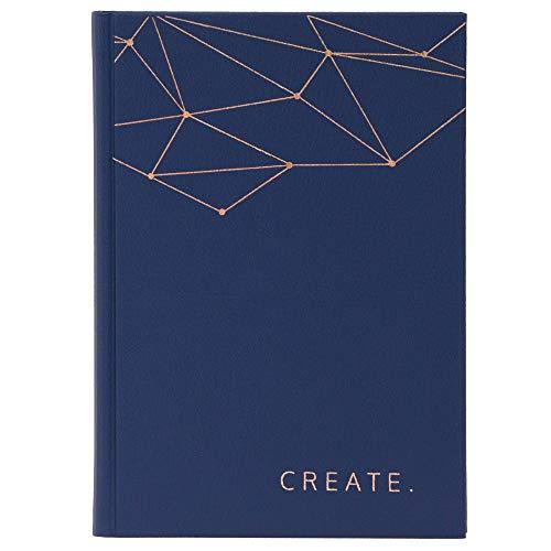 JO & JUDY Notizbuch A5 Create - 220 Blanko Seiten - Hardcover Buch in Dunkelblau mit kupferner Prägung