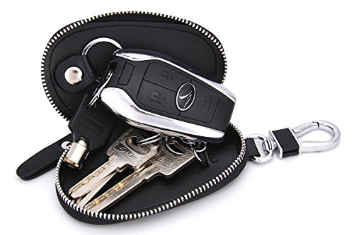 Contacts Echtes Leder-Auto-Schlüssel-Kasten-Mappen-Schlüssel-Halter-Beutel für Mann-Frauen-Schwarzes (Leder-schlüssel-beutel)