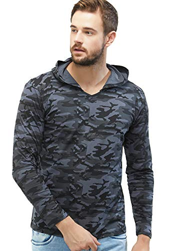 WYO Wear Your Opinion Men's Cotton Camouflage Full Sleeve Hoodies (Grey camo, Large)