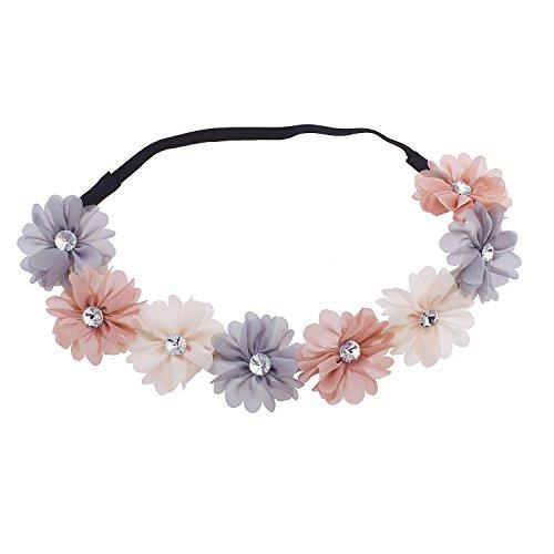 LUX Zubehör Multicolor Chiffon Strass Blumen Krone Haarband