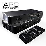 4 K HDMI Switch 3 x 1 avec PIP/RCA/Audio DE 3,5 mm, Fonction 3 en 1 Sortie HDMI Audio Extractor Splitter avec télécommande, Prend en Charge Arc, 4kx2 K, Ultra HD (Pas de câble HDMI)...