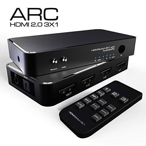 4K HDMI Switch 3x1 mit PIP / RCA / 3,5 MM AUDIO Funktion, 3 In 1 Out HDMI Audio Extractor Splitter mit Fernbedienung, Unterstützt ARC, 4Kx2K, Ultra HD (OHNE HDMI Kabel) (Ir-remote-empfänger Apple)