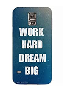 MiiCreations 3D Printed Back Cover for Samsung Galaxy S5,Work Hard Dream Big