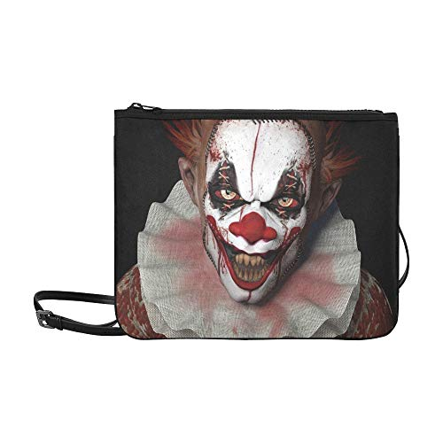 EIJODNL Evil Scary Clown Monster Pattern Benutzerdefinierte hochwertige Nylon Slim Clutch Cross Body Bag ()