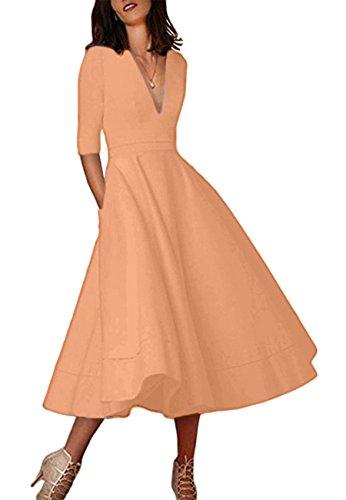 OMZIN Damen Abendkleid V Ausschnitt Elegantes Partykleid 1/2 Arm Wadenlanges Kleid Koralle M
