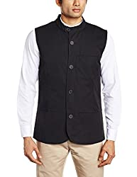 United Colors of Benetton Men's Solid Cotton Waistcoats  (8903239789550_Black_46)