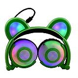 Auriculares Glowing Bear Ear Earphones Led Ear Headphone Cat Headphone Flashing Glowing Headset Auriculares para Juegos para Adultos Y Niños Verde