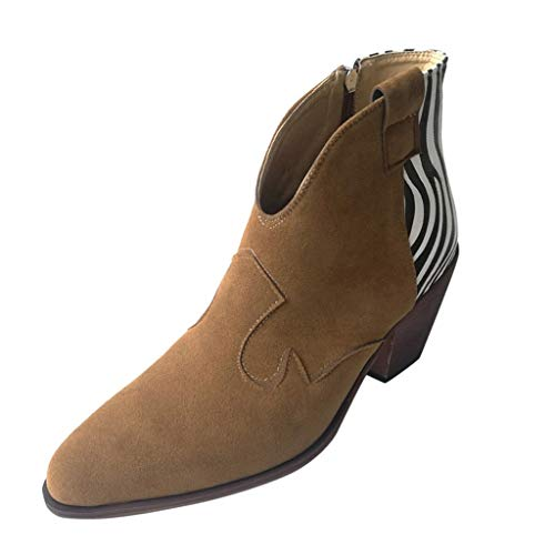 Damen Ankle Stiefel Women's Ancient Ankle Knie Side Zip nackte Stiefel Square Heel Casual Short Booties Täglich Wild Basic Ausgehen Dating Pendeln Schuhe(Khaki,42) (Wildleder Fransen Bootie)