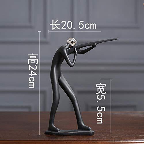 THREE Einfache Sport Mann Fahrrad Golf Player Musik Statue Modell Schwarz Figuren Kung Fu Dekoration Moderne Stilvolle Geschenk Phantasie, luftgewehr -